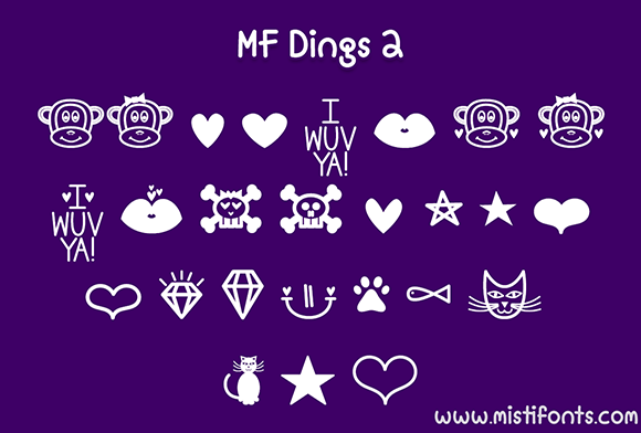 Print on Demand: MF Dings 2 Dingbats Font By Misti