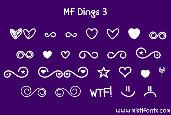 Print on Demand: MF Dings 3 Dingbats Font By Misti