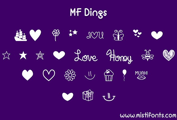 Print on Demand: MF Dings Dingbats Font By Misti