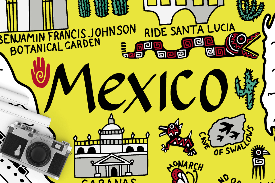Print on Demand: Map of Mexico Cartoon Illustration Graphic Illustrations By InkandBrush