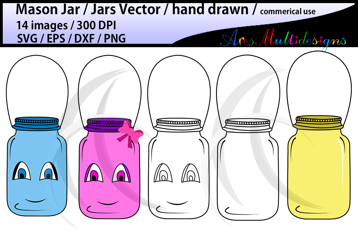 Download Free Mason Jar Clipart Set Graphic By Arcs Multidesigns Creative for Cricut Explore, Silhouette and other cutting machines.
