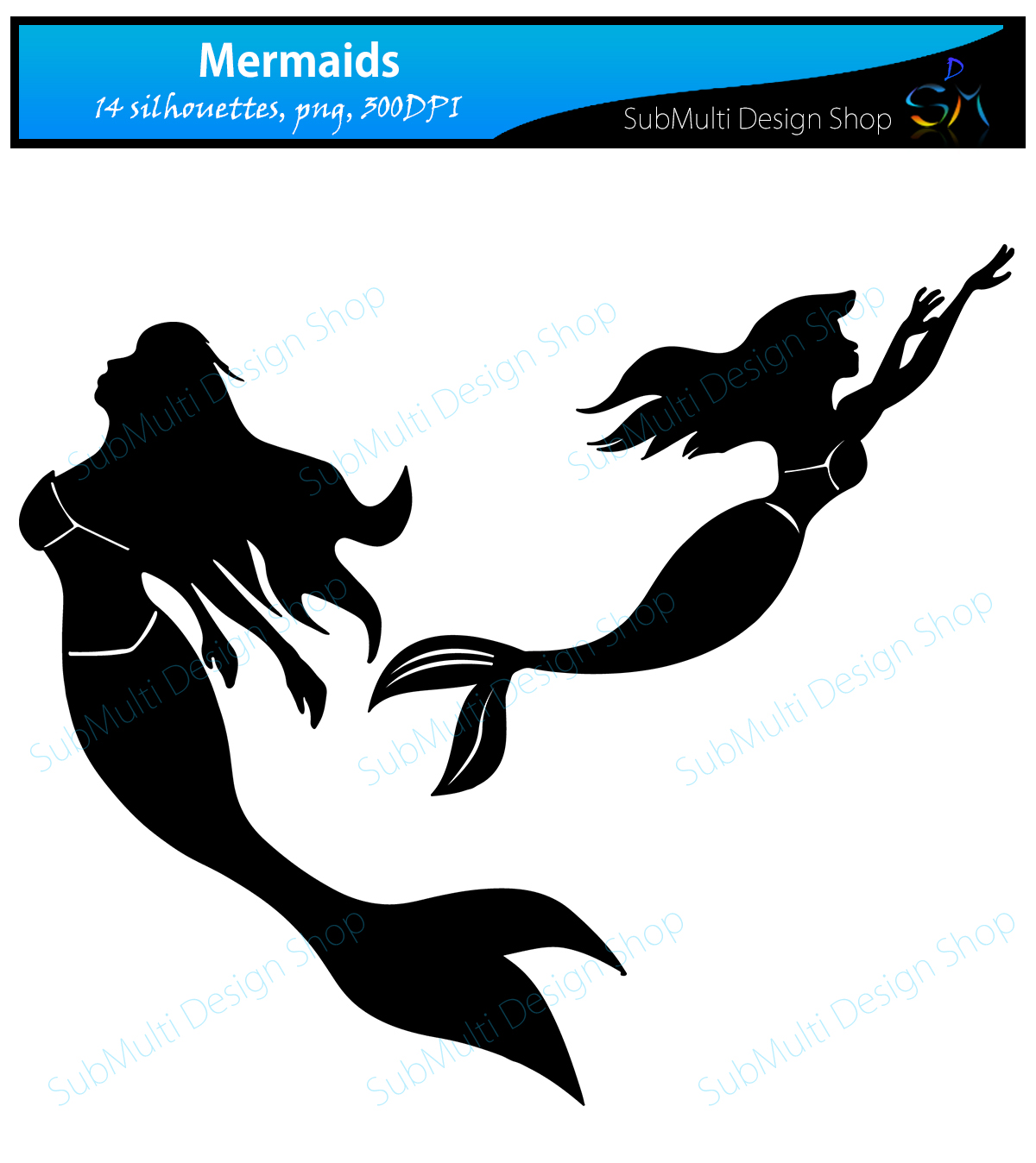 Print on Demand: Mermaid Silhouette Graphic Crafts By Arcs Multidesigns - Image 4