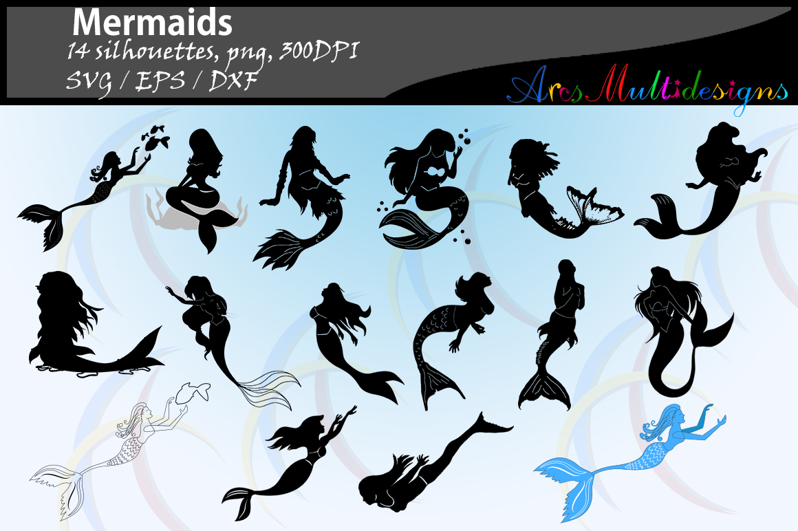 Print on Demand: Mermaid Silhouette Graphic Crafts By Arcs Multidesigns - Image 1