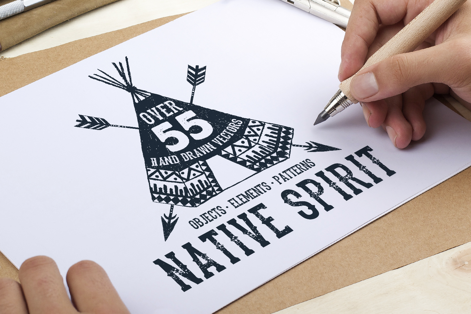 Print on Demand: Native Spirit - 55 Hand Drawn Objects Graphic Illustrations By Cosmic Store