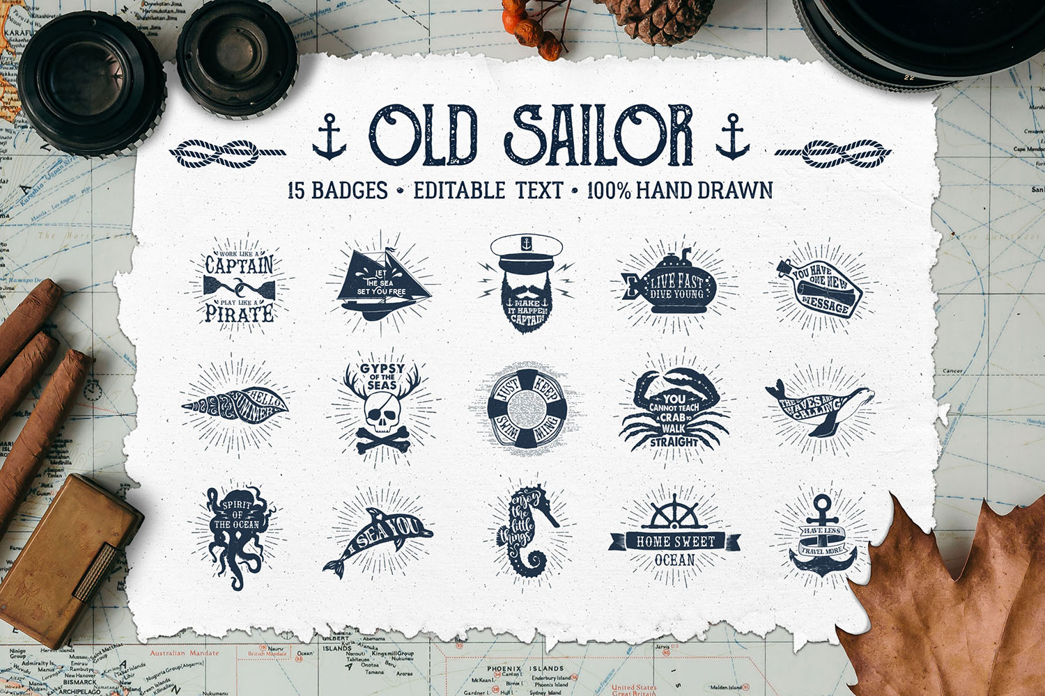 Print on Demand: Old Sailor (Vintage Badges/part1) Graphic Logos By Cosmic Store
