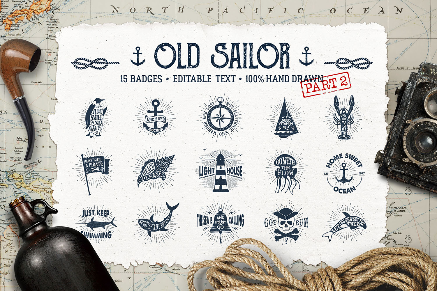 Print on Demand: Old Sailor - Vintage Badges Graphic Illustrations By Cosmic Store