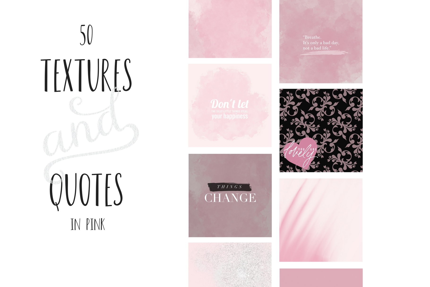 Paint and Pink Textures + Quotes Graphic Textures By Creative Stash