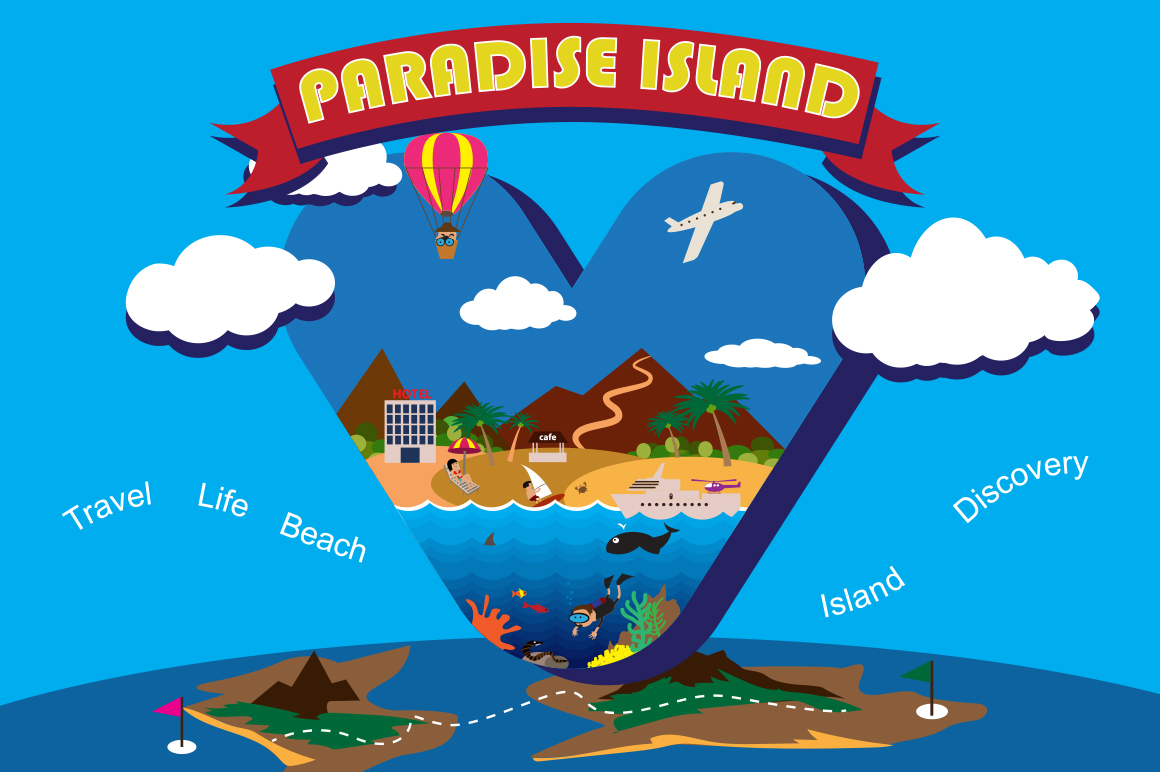 Paradise Island Graphic Illustrations By alisared87
