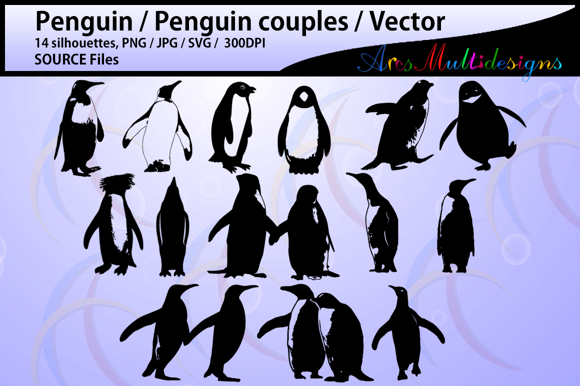 Download Free Penguin Silhouette Graphic By Arcs Multidesigns Creative Fabrica for Cricut Explore, Silhouette and other cutting machines.