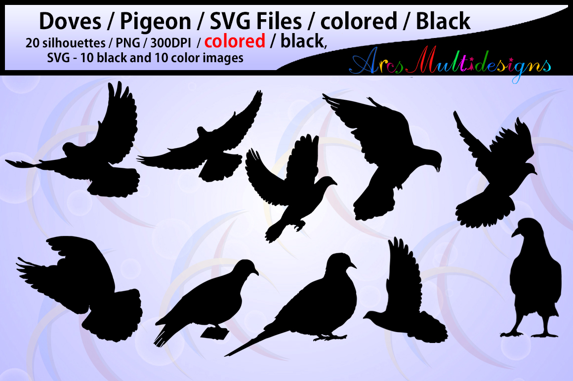 Download Free Pigeon Silhouette Graphic By Arcs Multidesigns Creative Fabrica for Cricut Explore, Silhouette and other cutting machines.