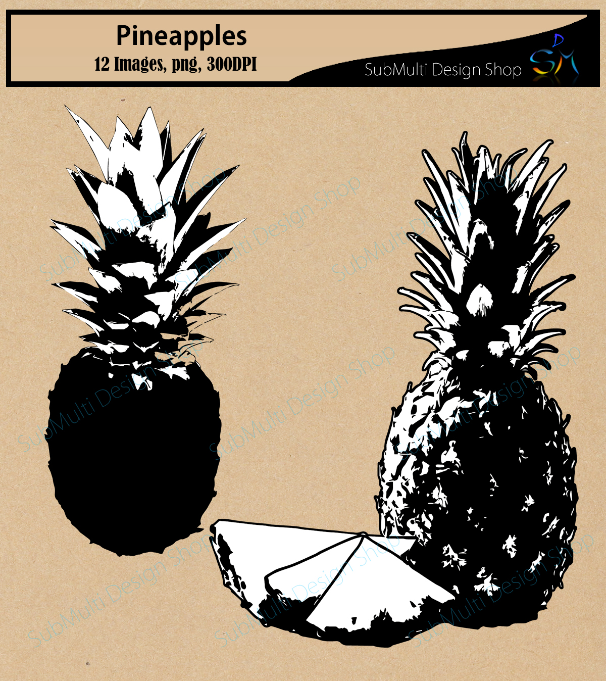 Pineapple Silhouettes Graphic By Arcs Multidesigns Creative