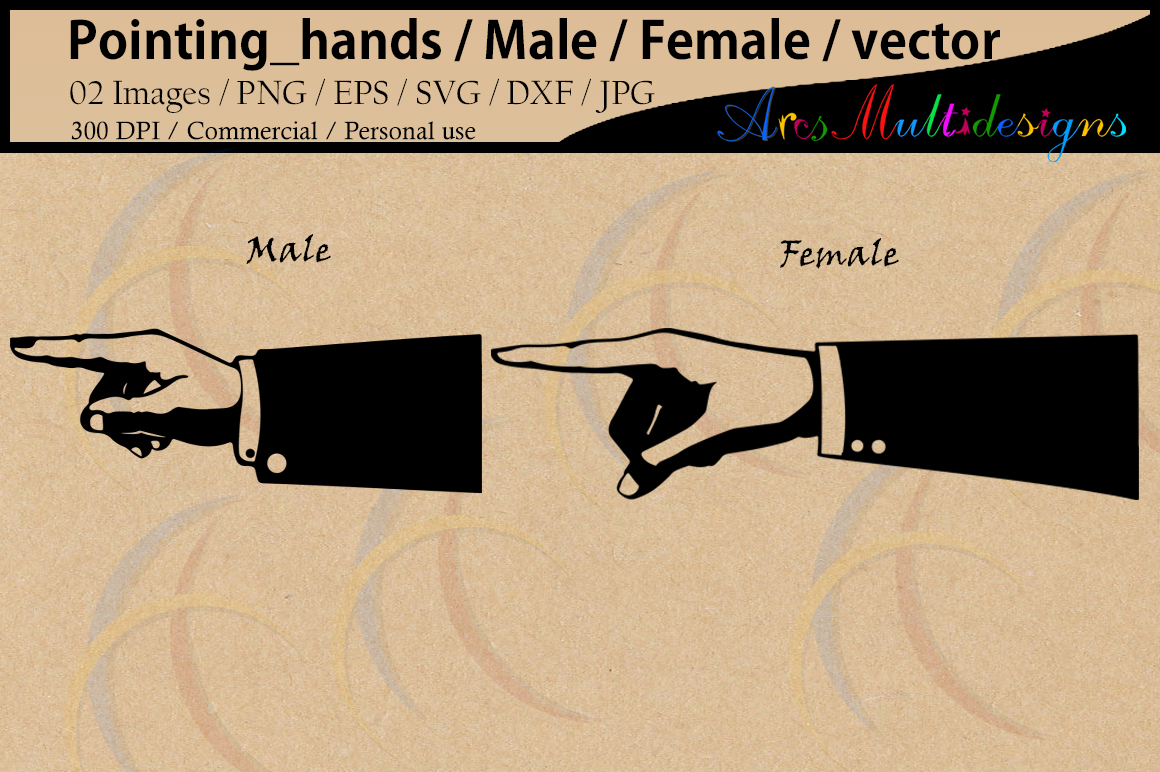 Print on Demand: Pointing Hands Silhouette Graphic Illustrations By Arcs Multidesigns