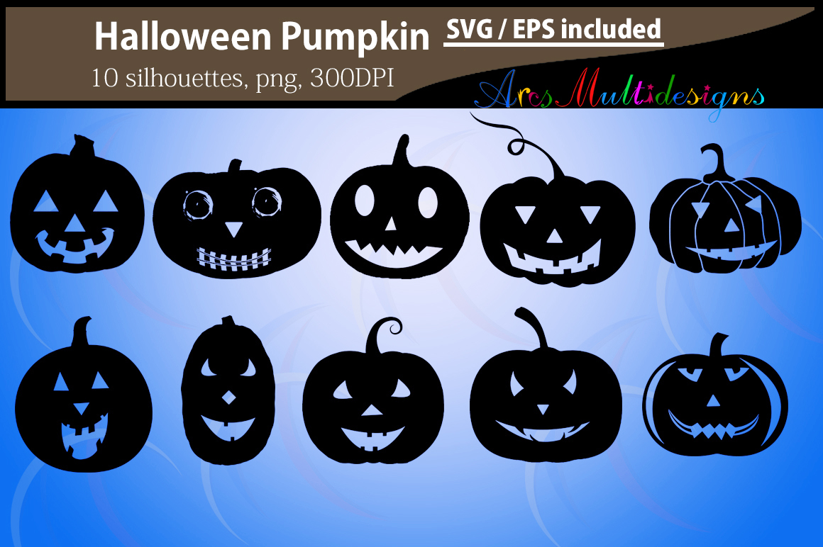 Download Free Pumpkin Silhouettes Graphic By Arcs Multidesigns Creative Fabrica for Cricut Explore, Silhouette and other cutting machines.