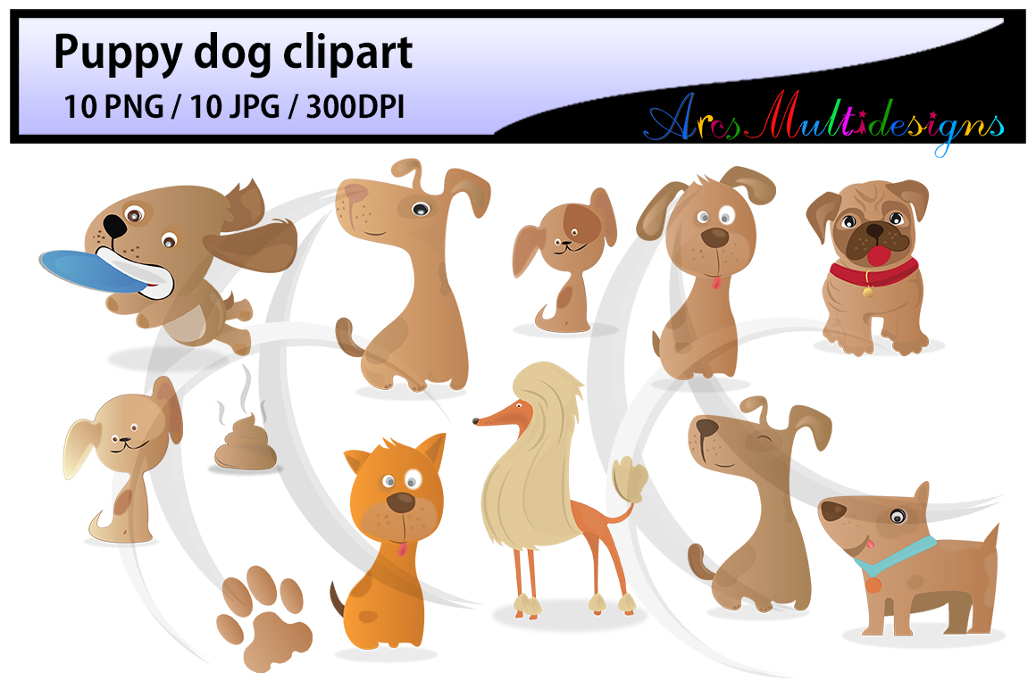 Print on Demand: Puppy Dog Clipart Graphic Crafts By Arcs Multidesigns