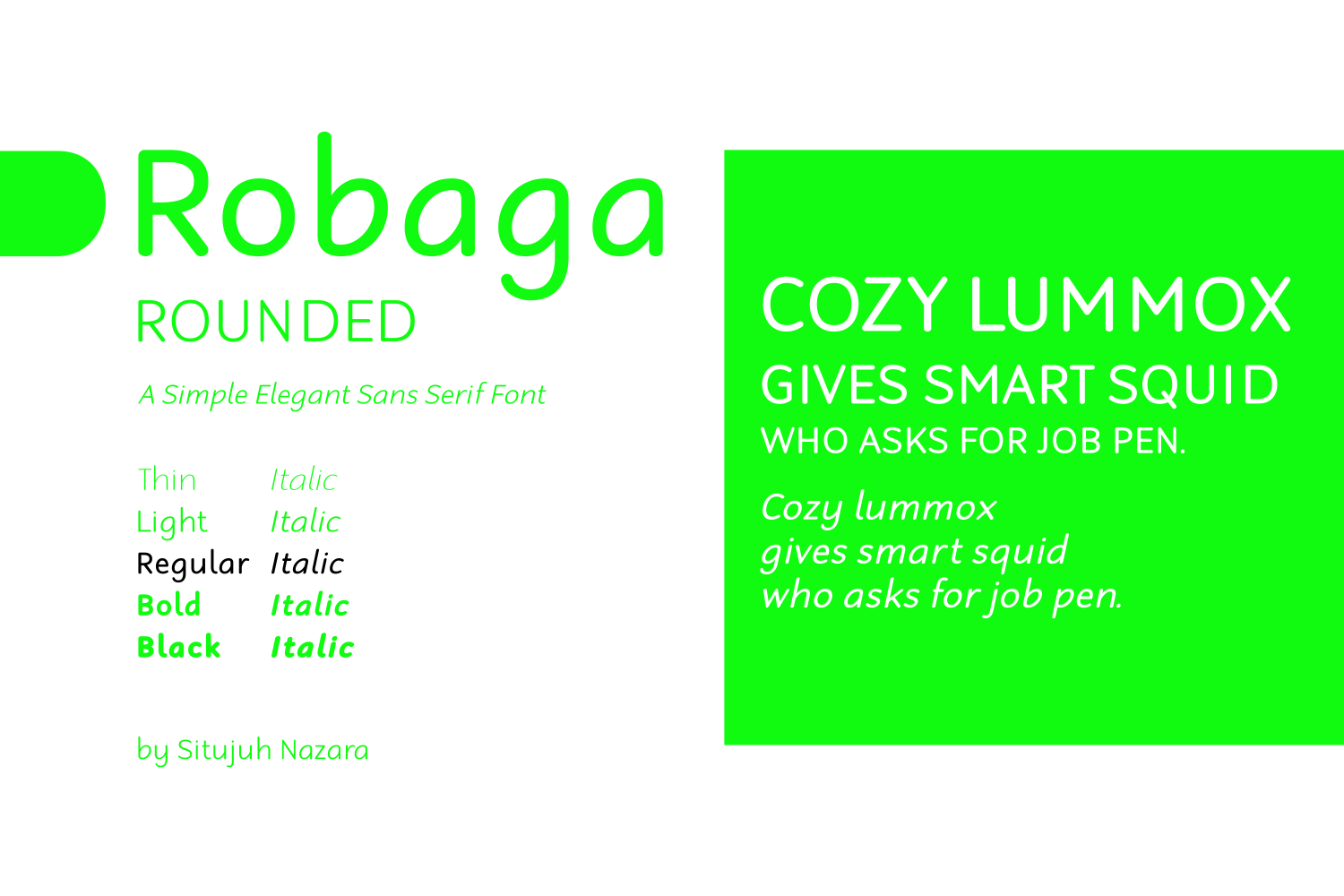 Print on Demand: Robaga Rounded Regular Sans Serif Fuente Por Situjuh