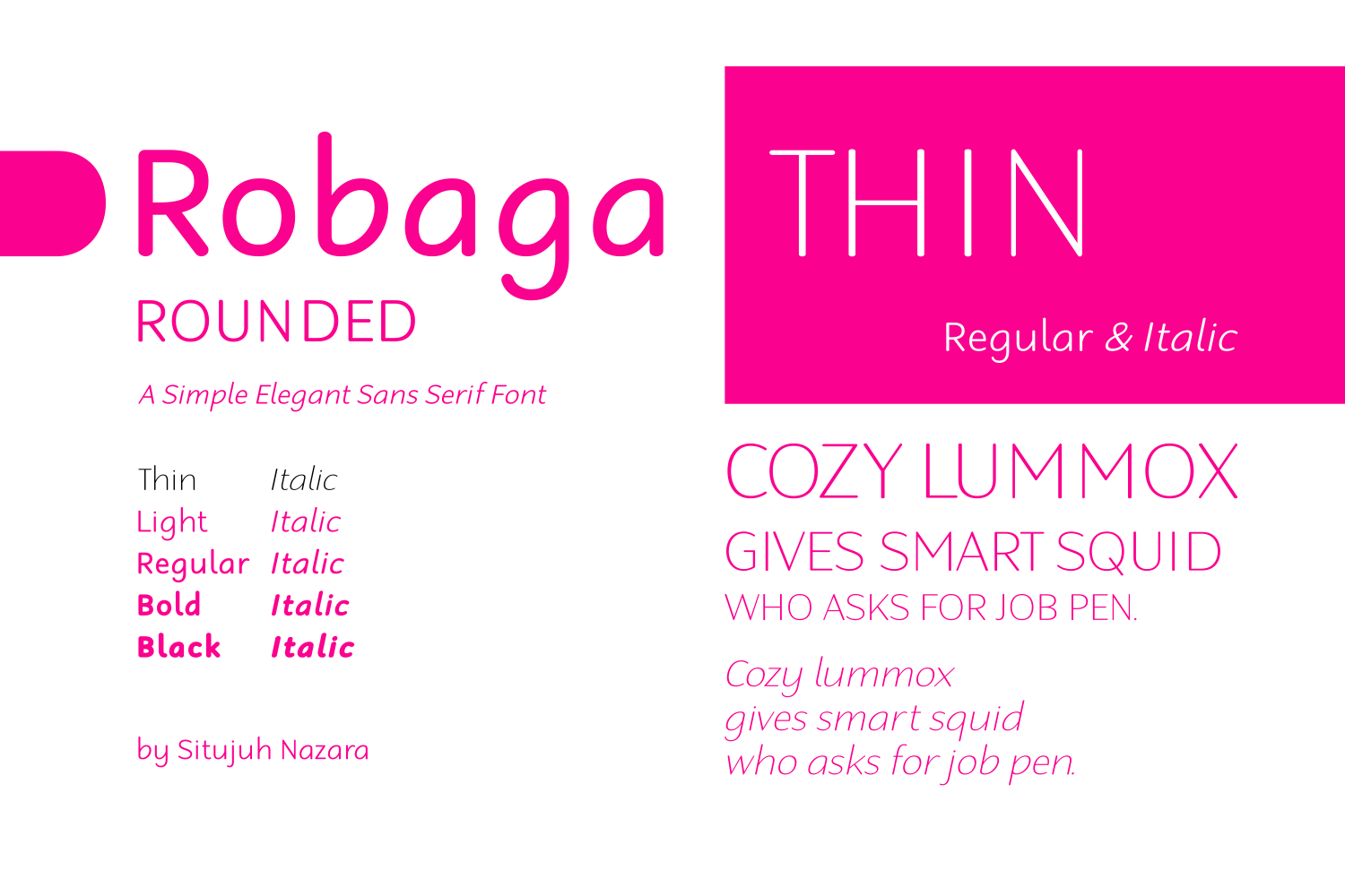 Print on Demand: Robaga Rounded Thin Sans Serif Font By Situjuh