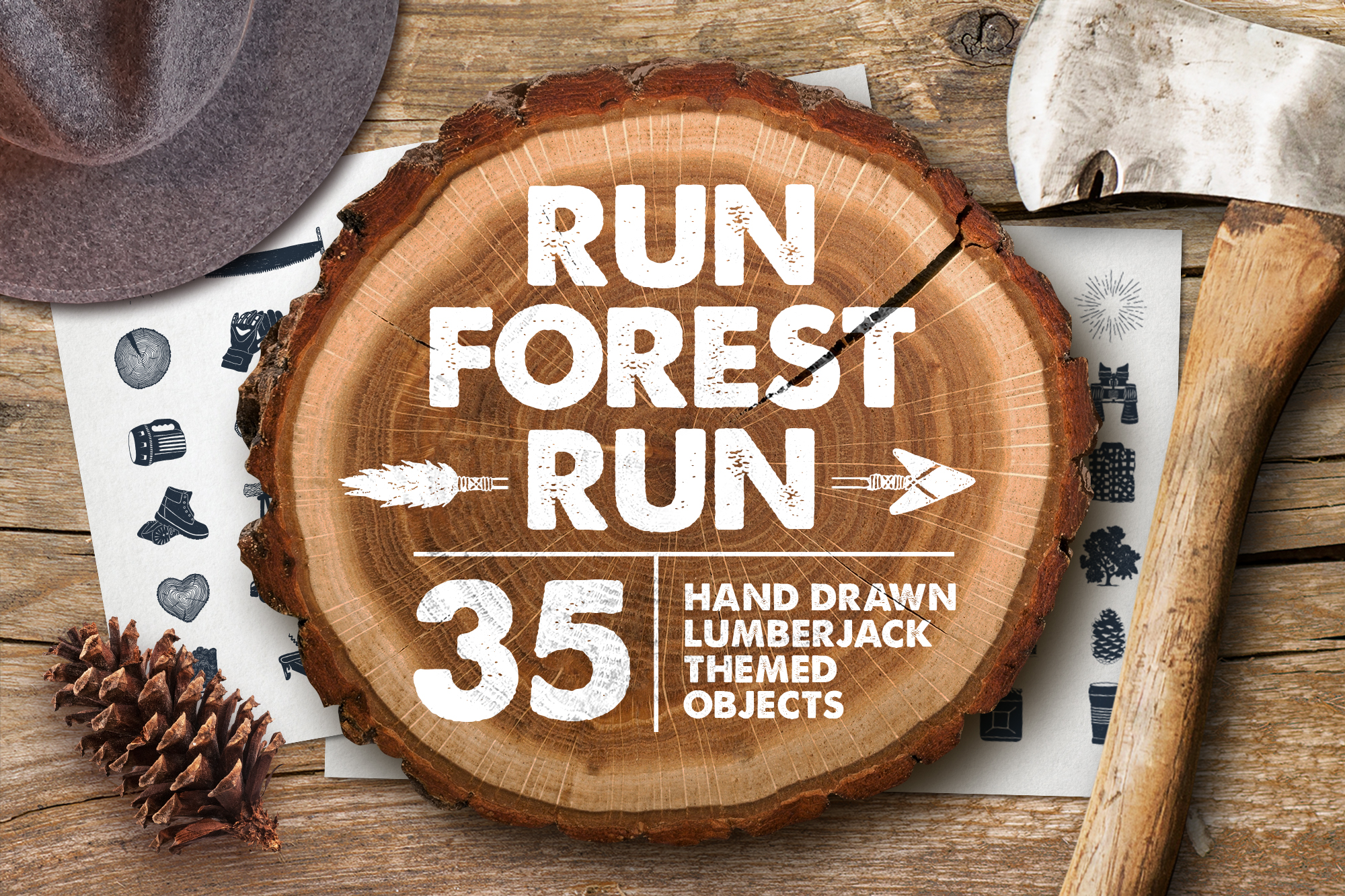 Print on Demand: Run, Forest, Run! 35 Hand Drawn Objects Graphic Illustrations By Cosmic Store