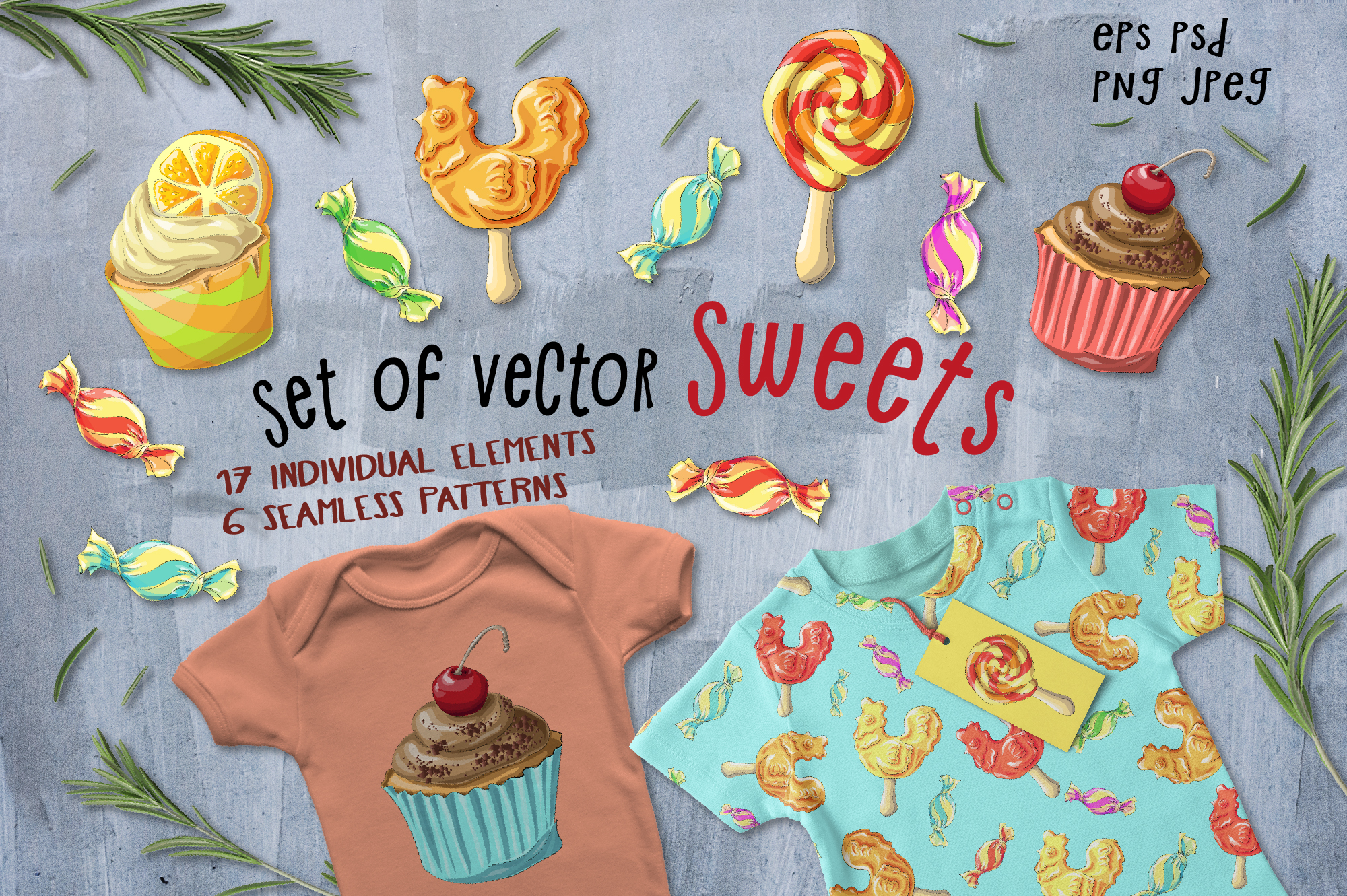 Print on Demand: Set of Vector Sweets Graphic Illustrations By nicjulia