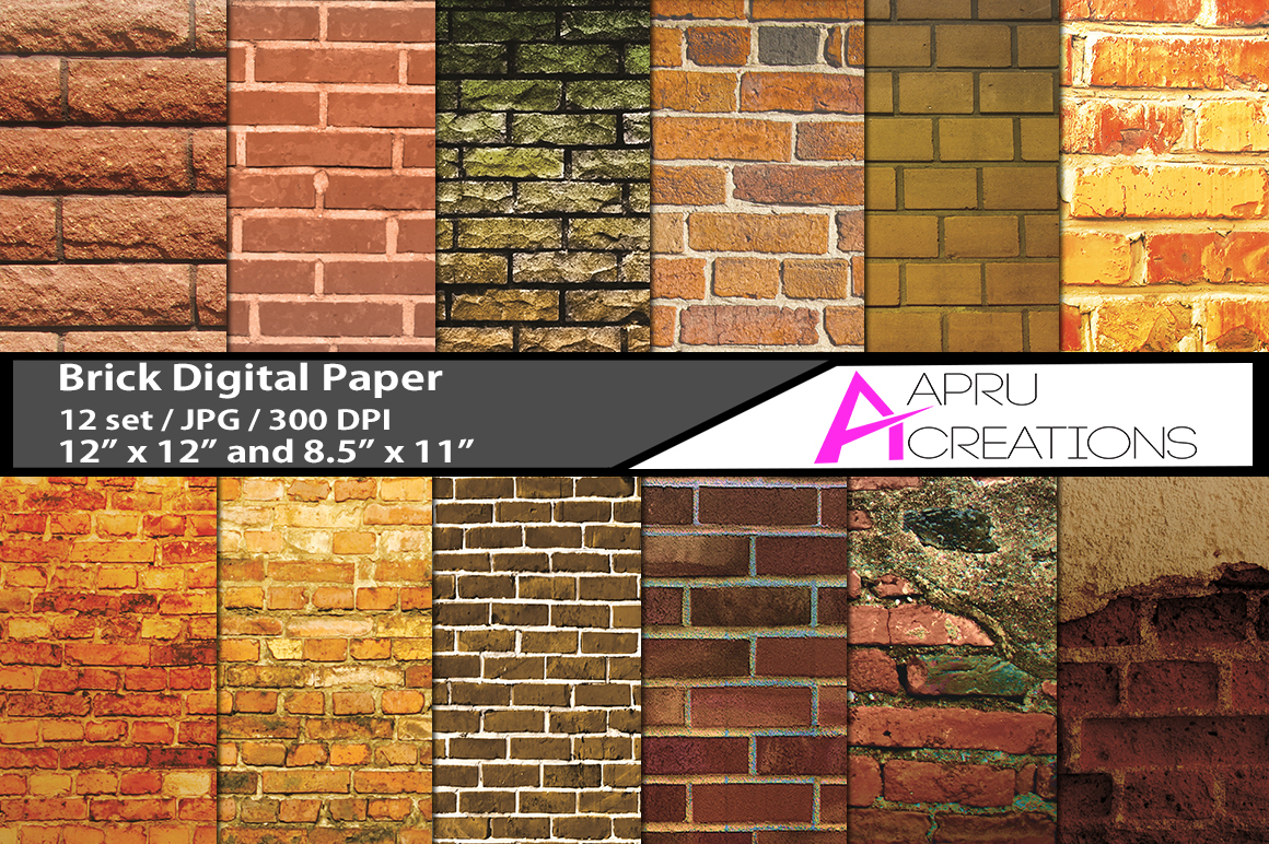 Download Free Set With 12 Brick Patterns Digital Papers Graphic By Aparnastjp for Cricut Explore, Silhouette and other cutting machines.