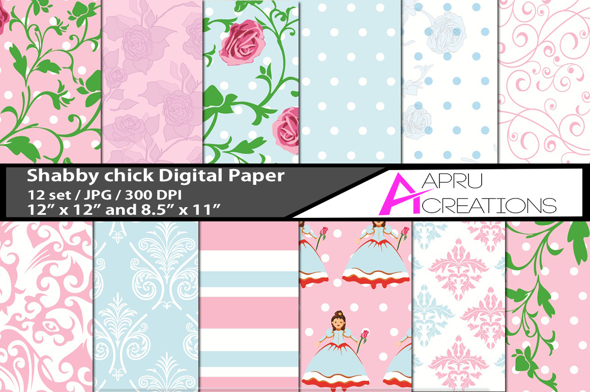Print on Demand: Shabby Chic Patterns Graphic Patterns By aparnastjp