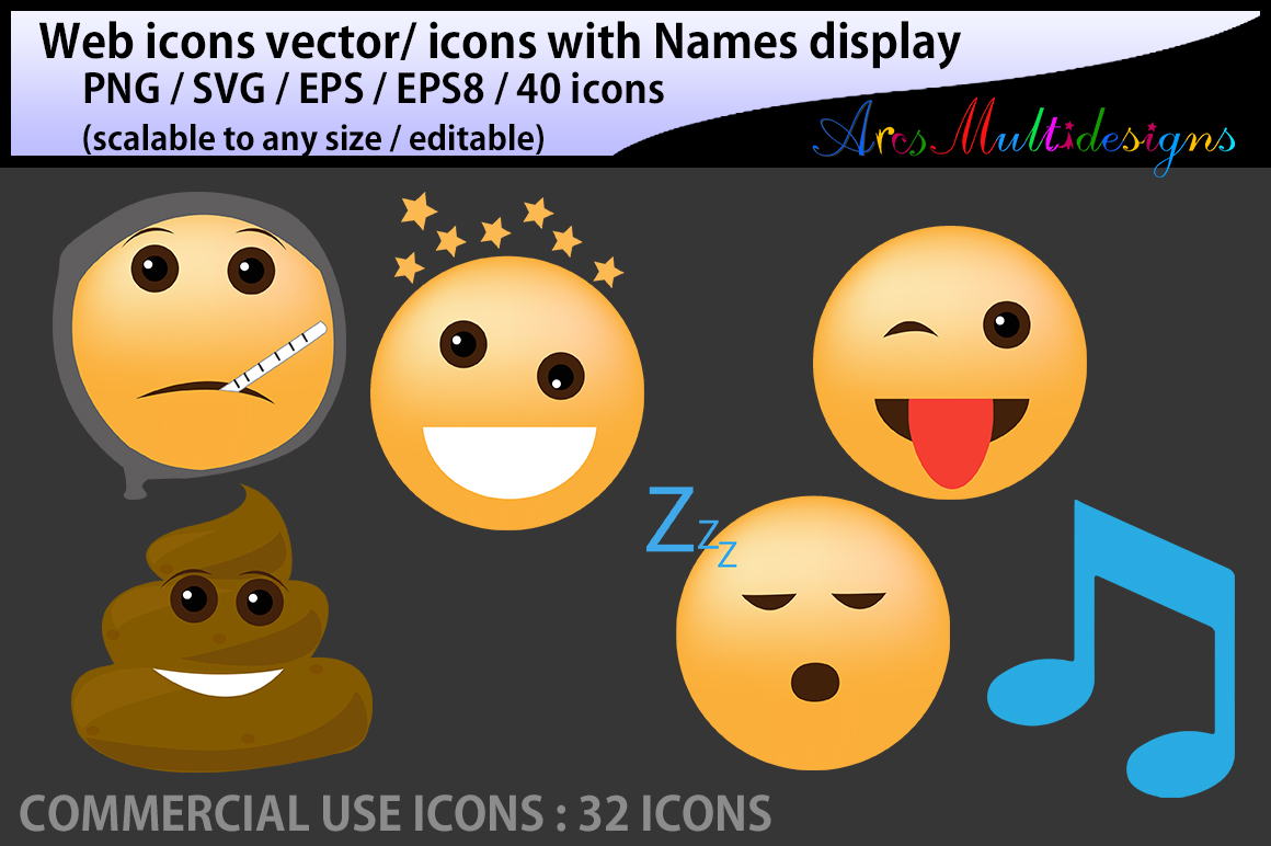 Download Free Social Media Emoji Icons Graphic By Arcs Multidesigns Creative for Cricut Explore, Silhouette and other cutting machines.