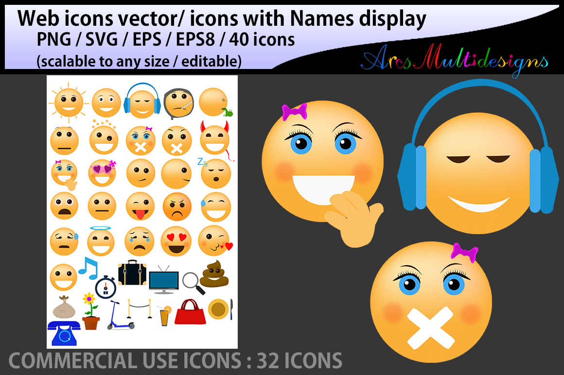 Print on Demand: Social Media Emoji Icons Graphic Icons By Arcs Multidesigns