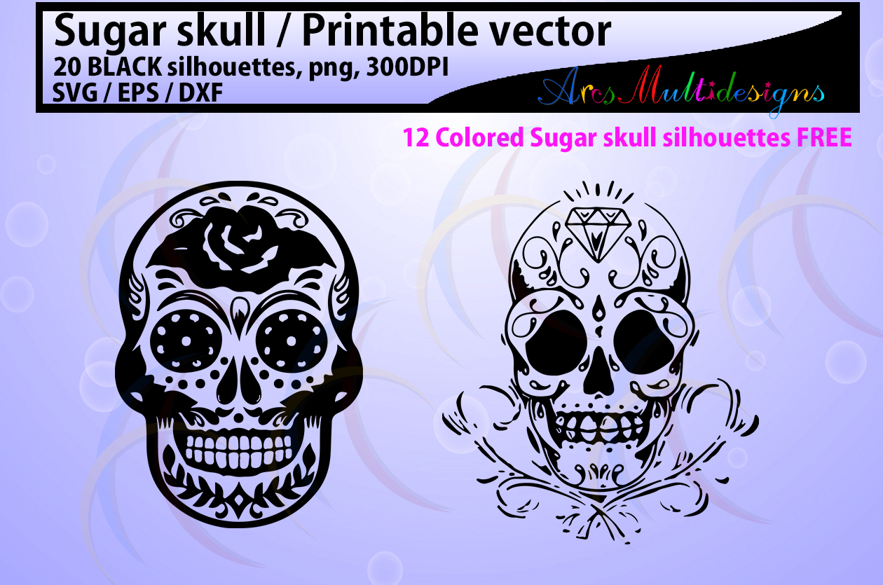 Download Free Sugar Skull Silhouette Graphic By Arcs Multidesigns Creative for Cricut Explore, Silhouette and other cutting machines.