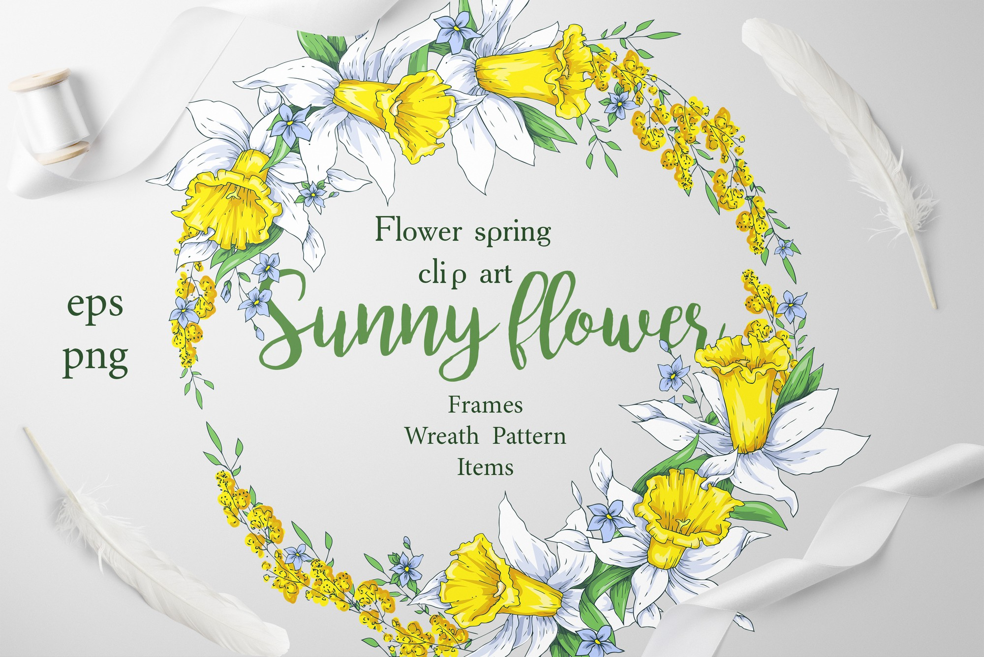 Print on Demand: Sunny Flowers – Spring Clip Art Graphic Illustrations By nicjulia - Image 1