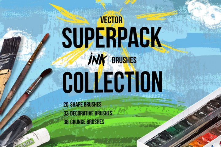 Superpack: 91 Ink Brushes. Graphic Illustrations By alisared87