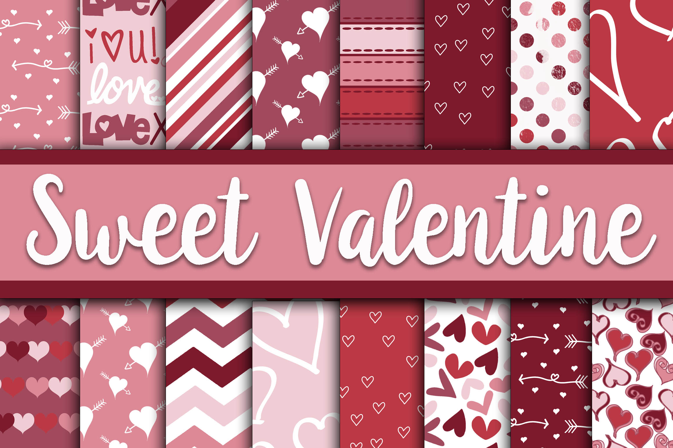Sweet Valentine Digital Paper Graphic Backgrounds By oldmarketdesigns