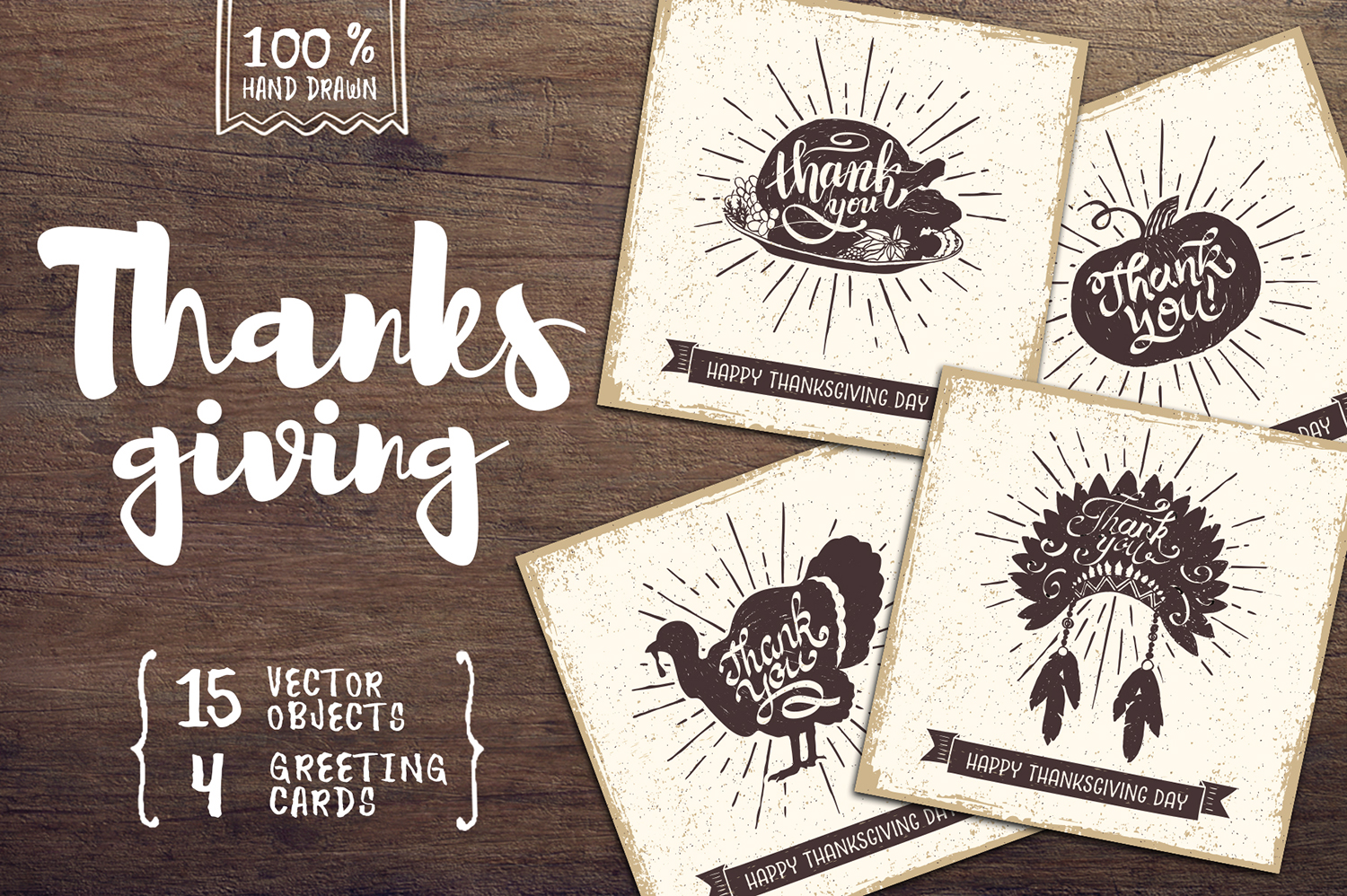 Print on Demand: Thanksgiving 15 Hand Drawn Objects + 4 Cards Graphic Illustrations By Cosmic Store