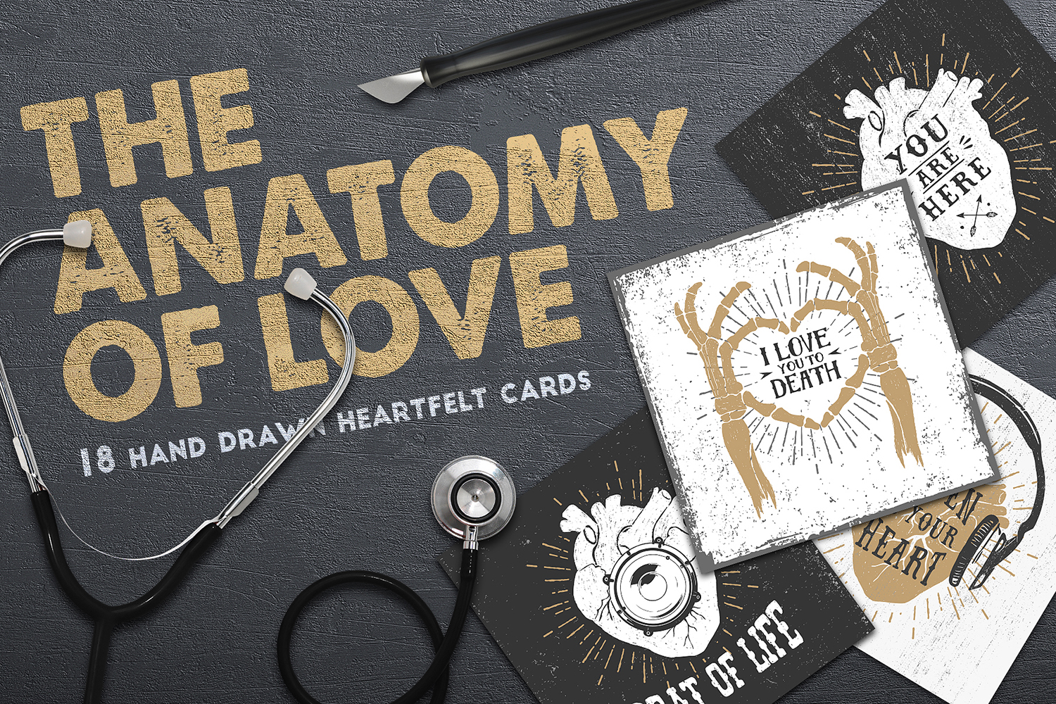 The Anatomy of Live - 18 Hand Drawn Heartfelt Cards Grafik von Cosmic Store