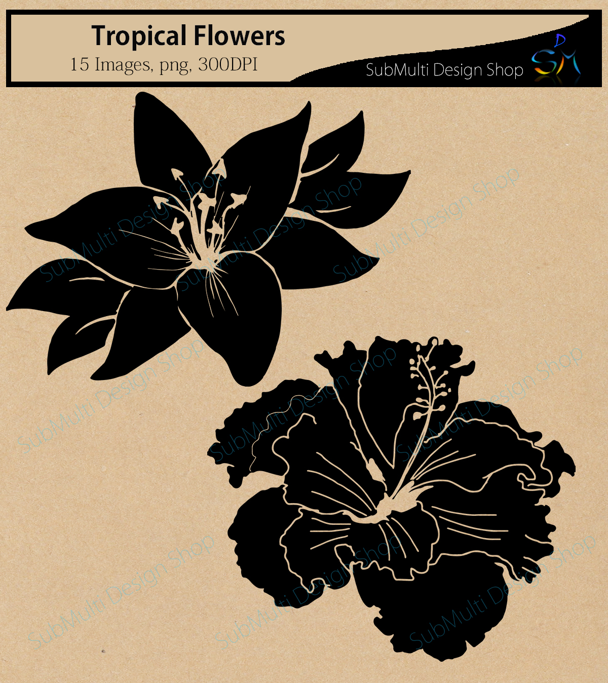 Print on Demand: Tropical Flowers Silhouette Graphic Crafts By Arcs Multidesigns - Image 2