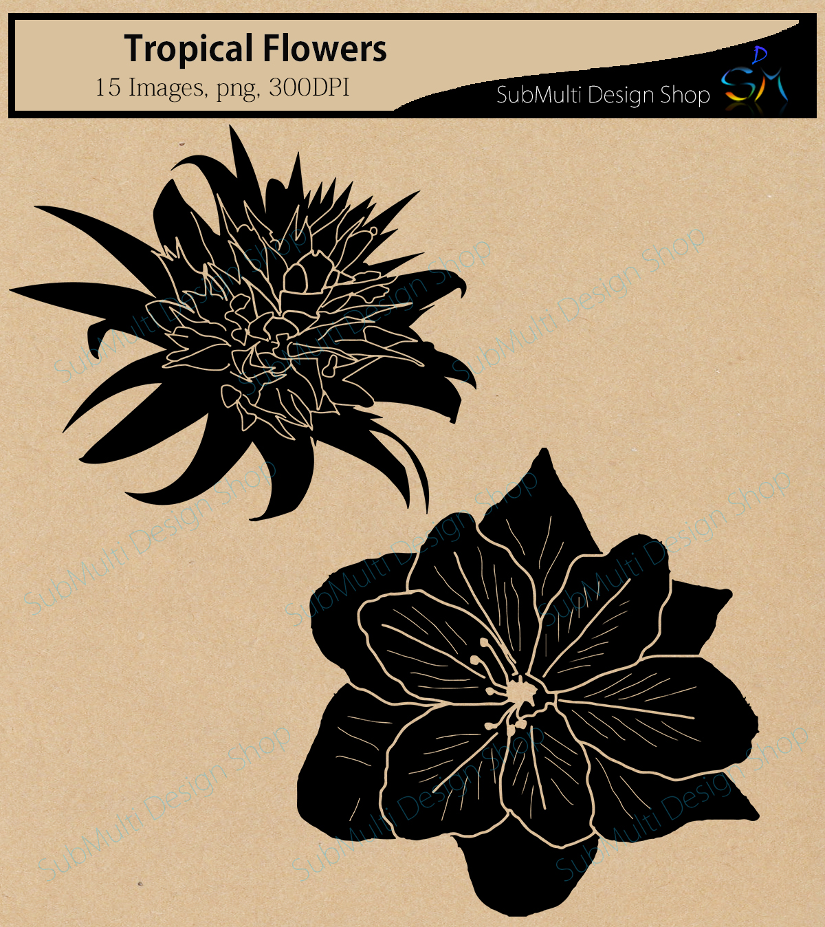 Print on Demand: Tropical Flowers Silhouette Graphic Crafts By Arcs Multidesigns - Image 3