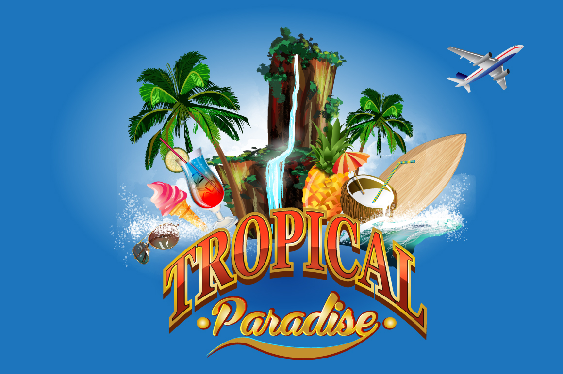 Tropical Paradise Graphic Illustrations By alisared87