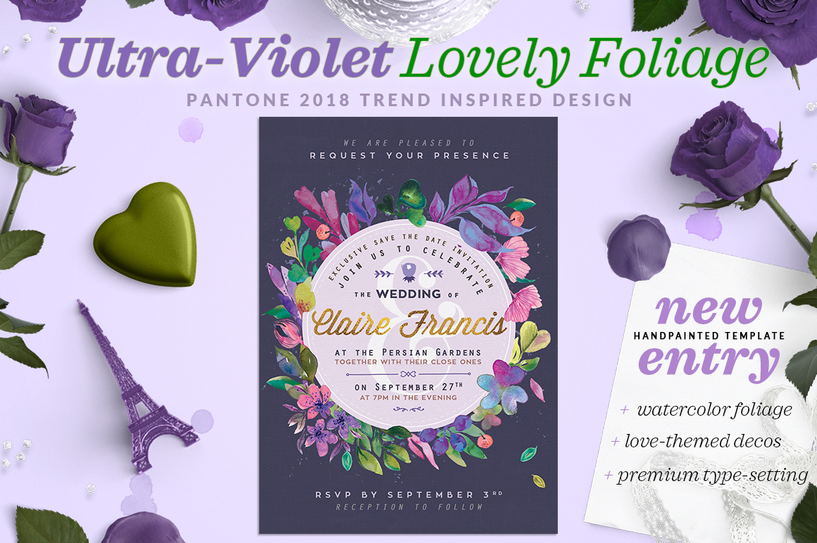 Print on Demand: Ultra-Violet Lovely Foliage Card II Graphic Print Templates By lavie1blonde - Image 1