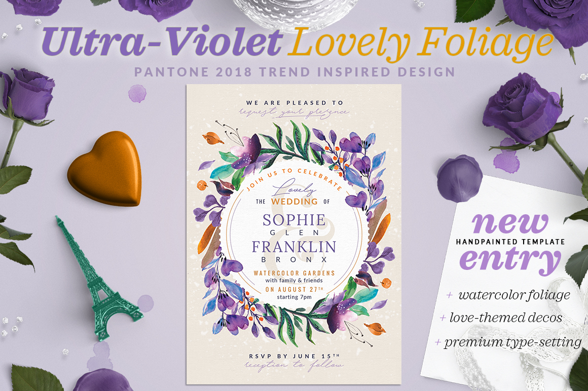Ultra-Violet Lovely Foliage Card III Graphic By lavie1blonde Image 1
