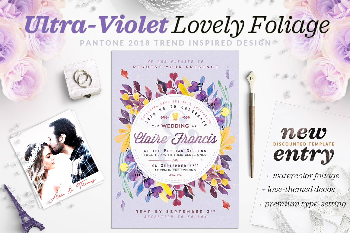 Print on Demand: Ultra-Violet Lovely Foliage Card IV Graphic Print Templates By lavie1blonde