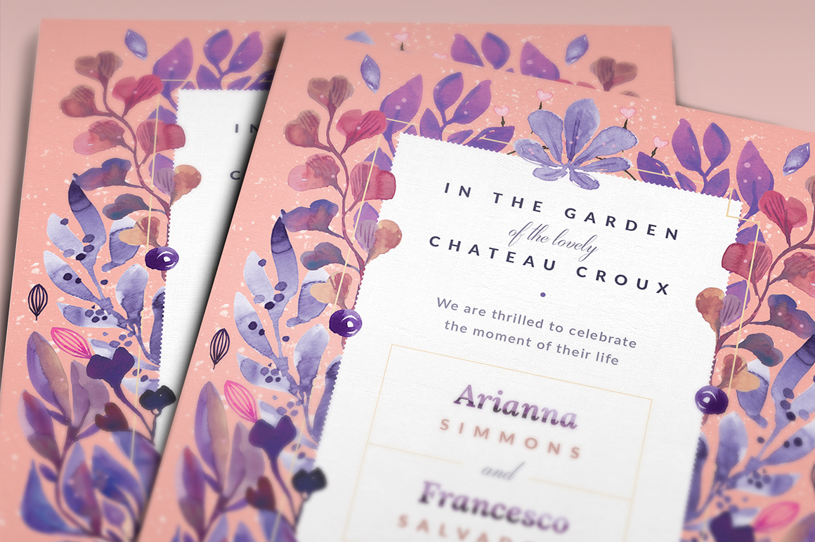 Print on Demand: Ultra-Violet Lovely Story Invite I Graphic Print Templates By lavie1blonde - Image 3
