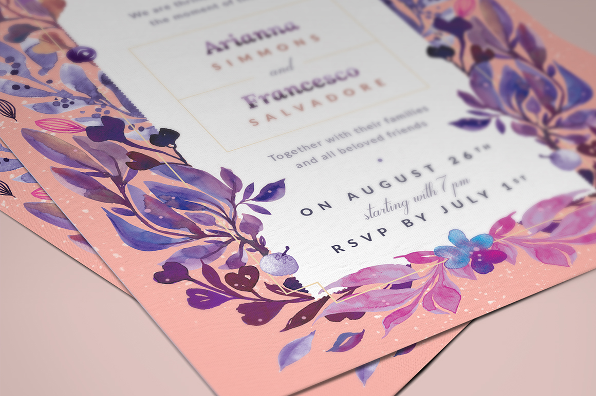 Print on Demand: Ultra-Violet Lovely Story Invite I Graphic Print Templates By lavie1blonde - Image 4