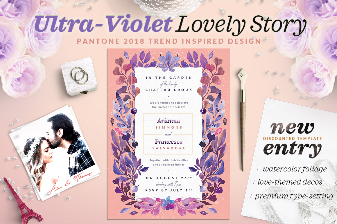 Print on Demand: Ultra-Violet Lovely Story Invite I Graphic Print Templates By lavie1blonde