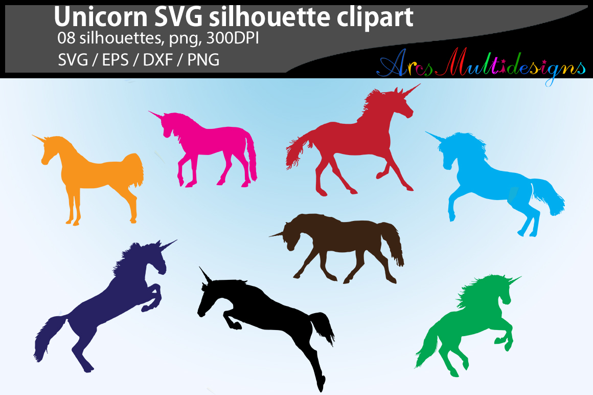 Download Free Unicorn Silhouettes Graphic By Arcs Multidesigns Creative Fabrica for Cricut Explore, Silhouette and other cutting machines.