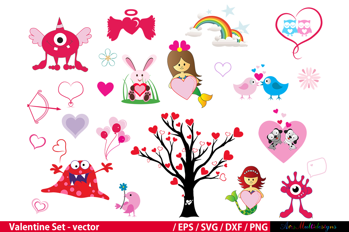 Print on Demand: Valentine Clipart Set Graphic Crafts By Arcs Multidesigns - Image 2