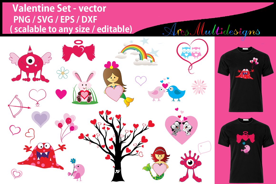 Print on Demand: Valentine Clipart Set Graphic Crafts By Arcs Multidesigns - Image 1