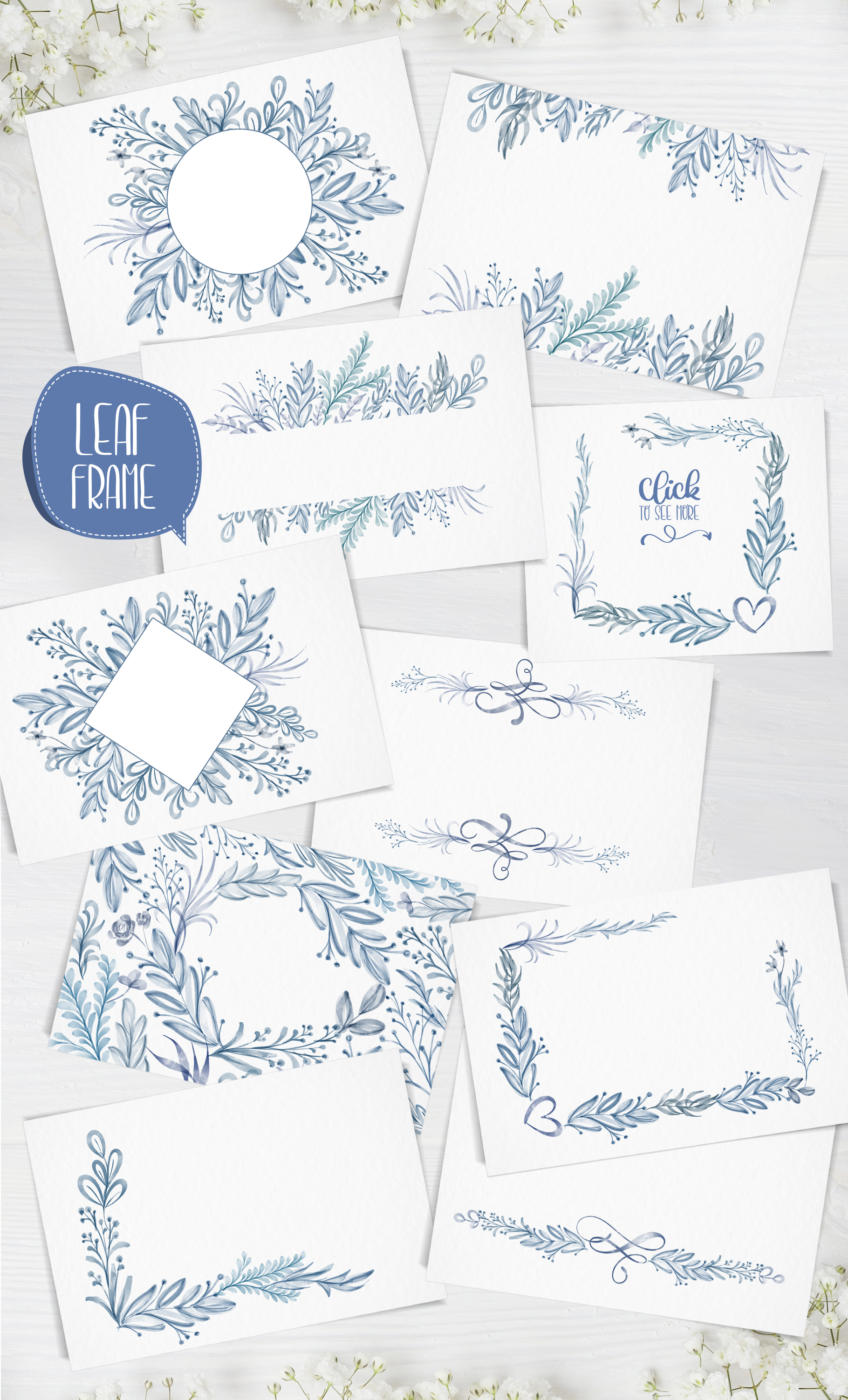 Watercolor Leaves Collection Graphic Downloadable Digital File