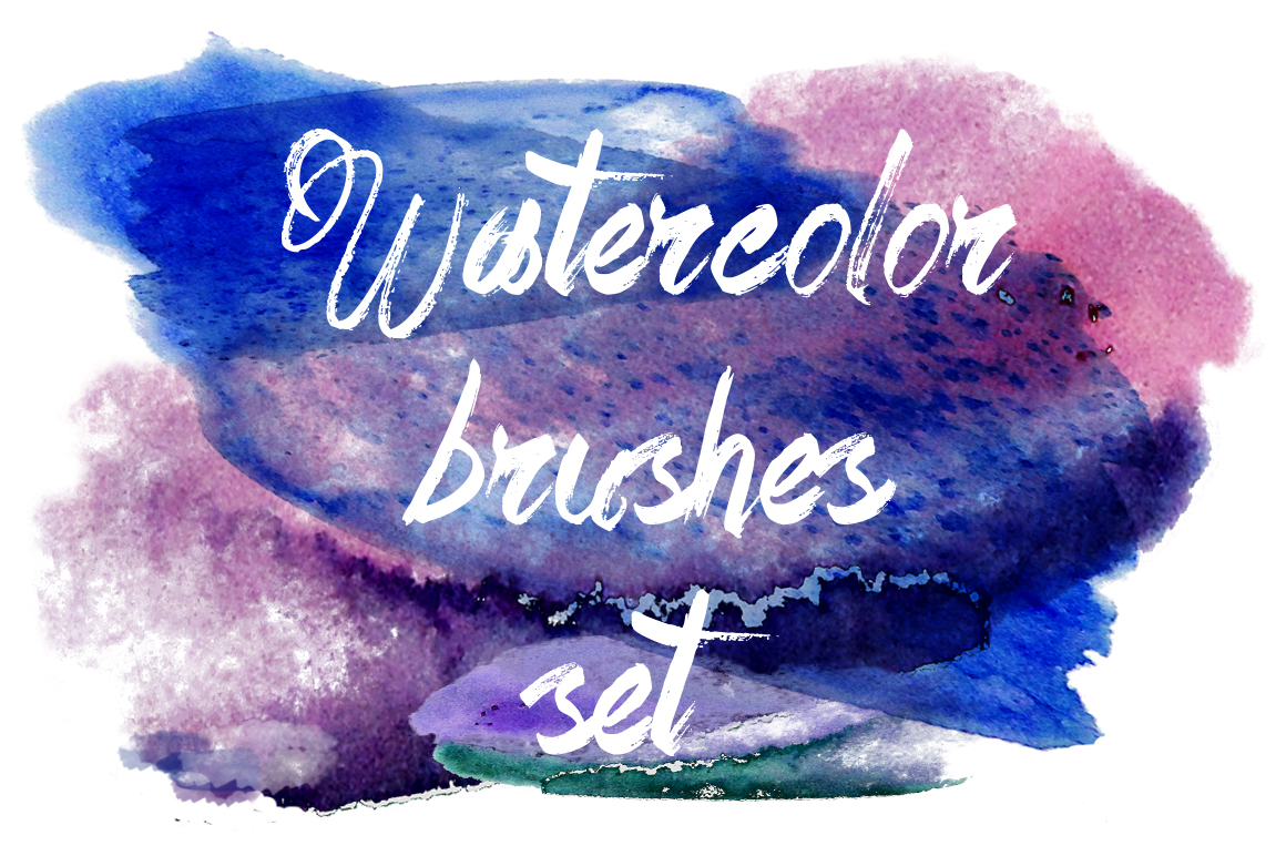 Watercolor Brushes Set Graphic Brushes By alisared87