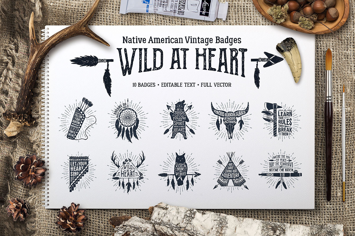 Download Free Wild At Heart Native American Badges Graphic By Cosmic Store for Cricut Explore, Silhouette and other cutting machines.