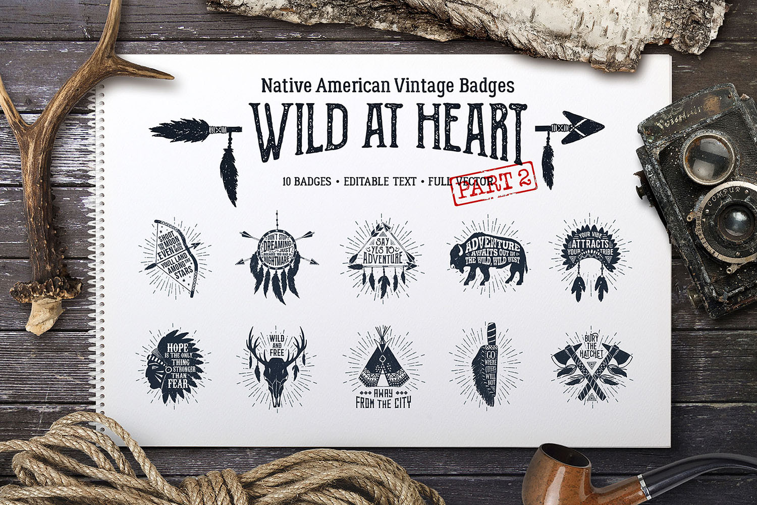 Print on Demand: Wild at Heart - Vintage Badges Graphic Illustrations By Cosmic Store