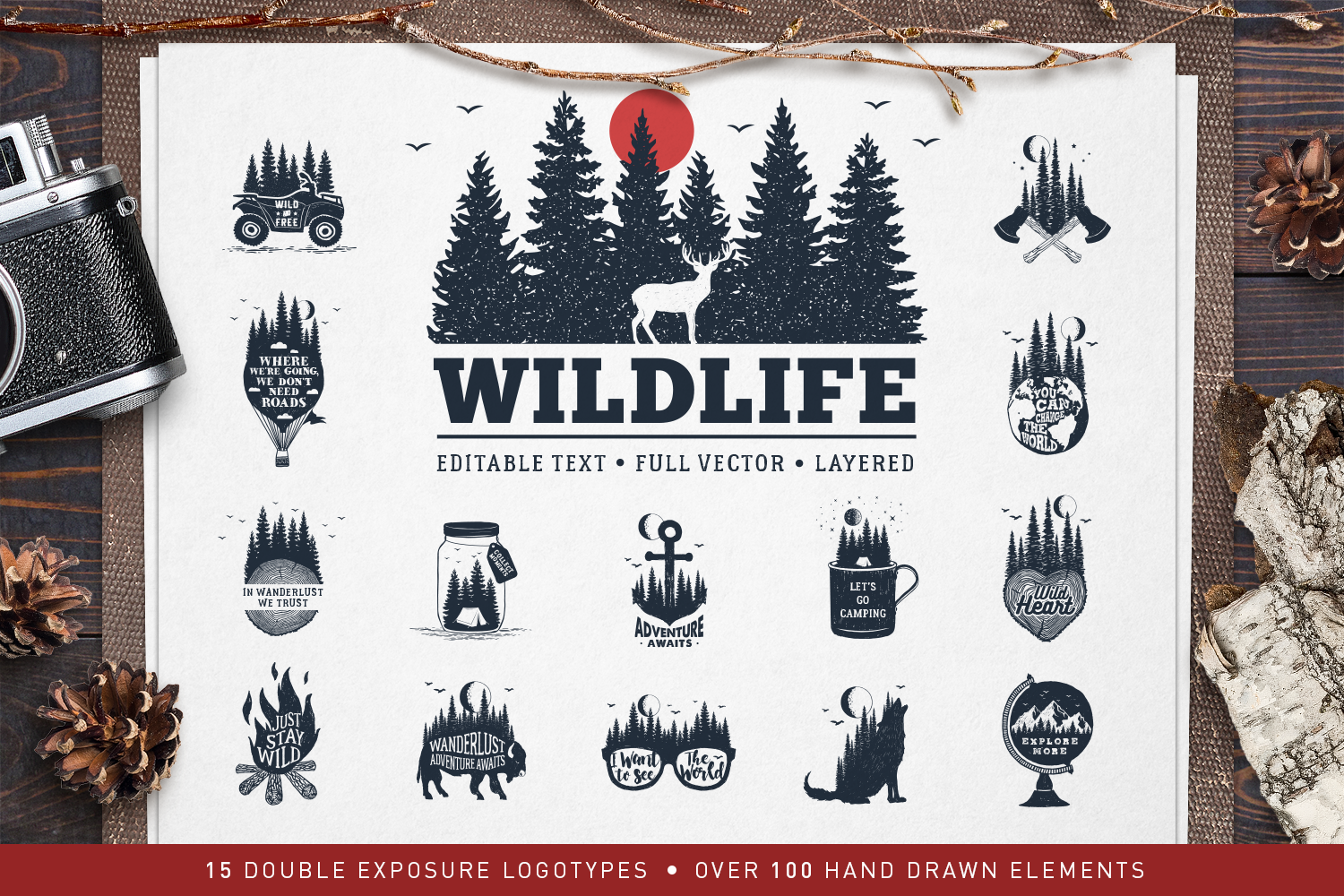 Print on Demand: WildLife - 15 Double Exposure Logos Graphic Logos By Cosmic Store