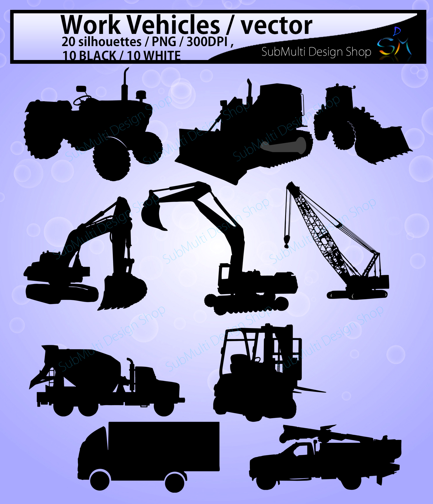 Download Free Work Vehicle Silhouette Graphic By Arcs Multidesigns Creative for Cricut Explore, Silhouette and other cutting machines.